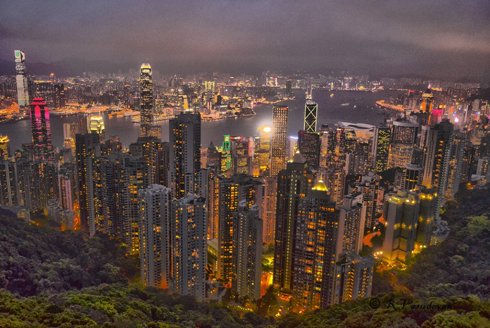 A view from the Peak in HongKong.  D5100, f/3.5, multiple values for shutter  speed from 1/2 sec to 1/15 HDR using 4 frames